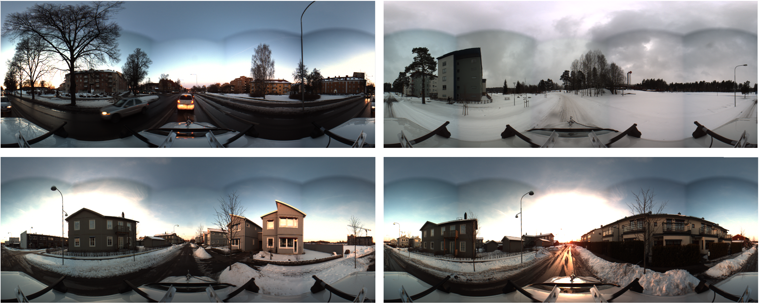 Scenes with different traffic and weather conditions as stitched and clipped panoramic images